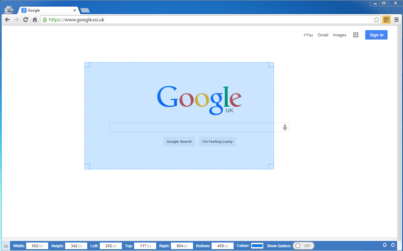 Page Ruler - a Google Chrome extension - blarg.co.uk